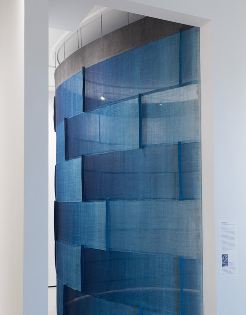 Installation by Rowland Ricketts, Sound by Norbert Herber Museum of Fine Arts Boston August 28, 2015 - January 8, 2016. Dried indigo plants, indigo dyed hemp, interactive sound.